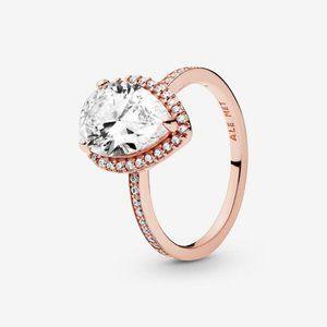 😋Pandora Sparkling Teardrop Halo Ring